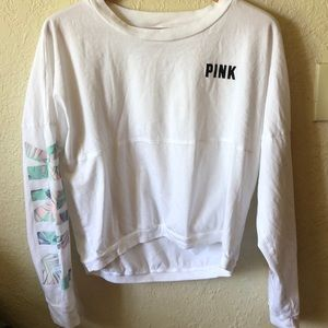 Pink by VS White Long Sleeved Crop Top, Size M